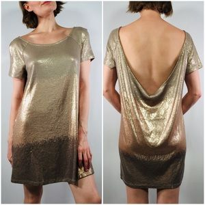 Free People Gold Ombré Sequin Open Back Dress | S